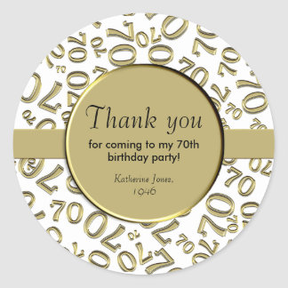 Thank You: Gold and White 70th Birthday Party Classic Round Sticker