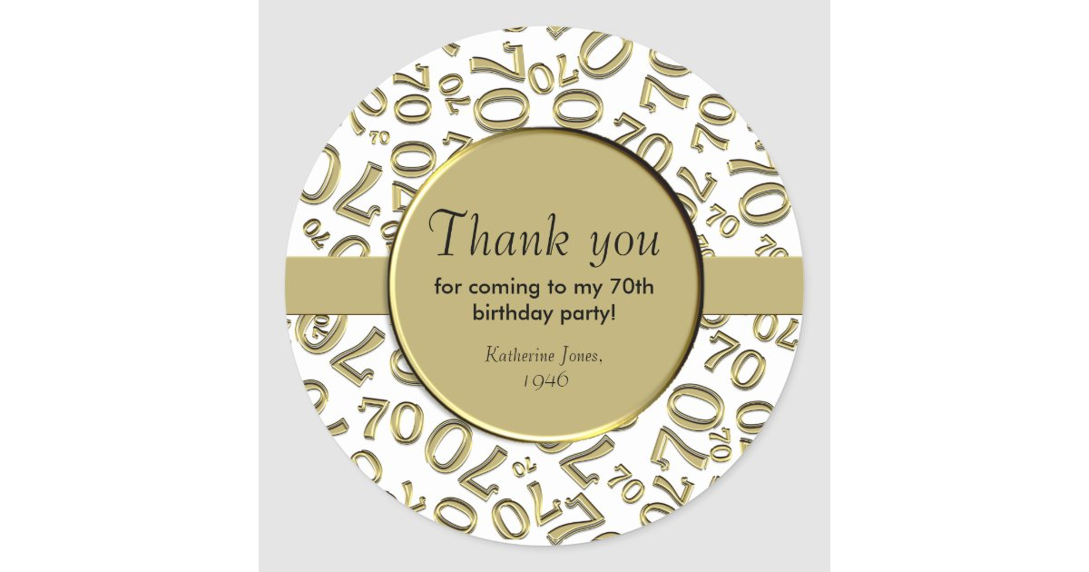 Thank You Gold And White 70th Birthday Party Classic