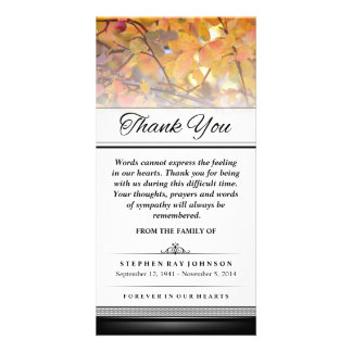 Thank You Gold Autumn Leaves Words Cannot Express Custom Photo Card