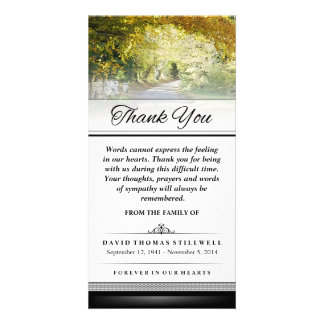 Thank You Gold Autumn Trees Words Cannot Express Personalized Photo Card