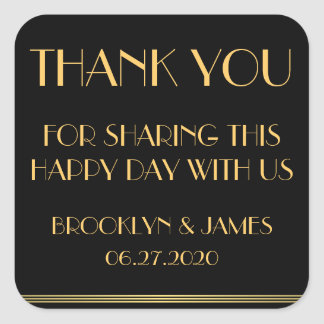 Thank You Gold Black Great Gatsby Wedding Stickers