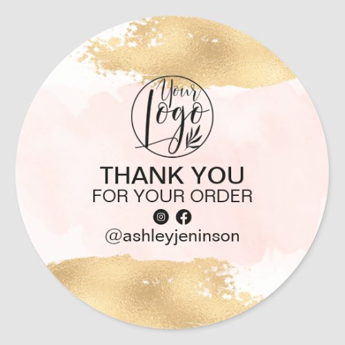 Thank you gold brushstroke pink watercolor order classic round sticker