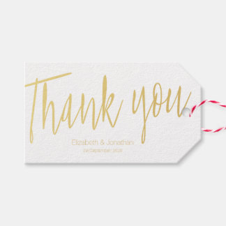 """Thank you"" Gold Calligraphy Wedding Favor Tag"