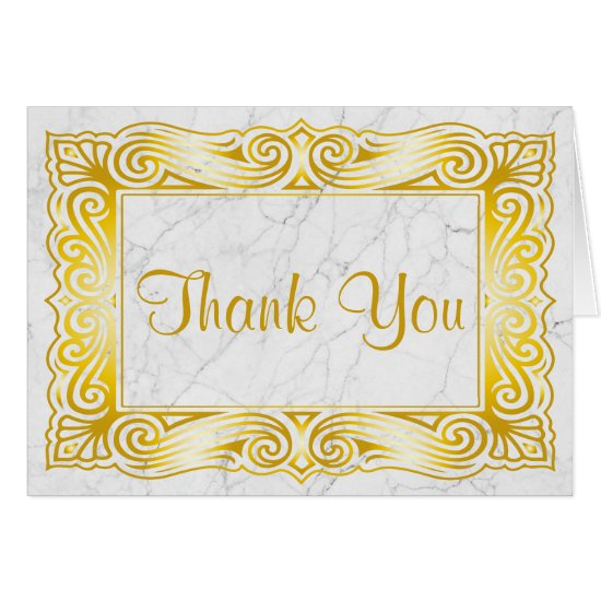 Thank You Gold Classic Monogram Frame White Marble Card