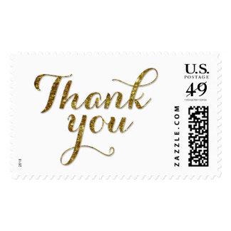 Thank you - Gold Glitter Confetti Wedding Stamp