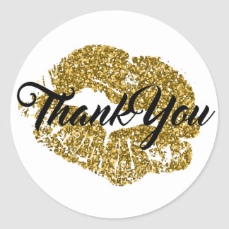 Thank You Gold Glitter Lips Classic Round Sticker