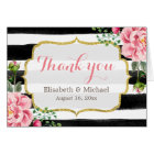 Thank You Gold Glitter Watercolor Floral Stripes Card