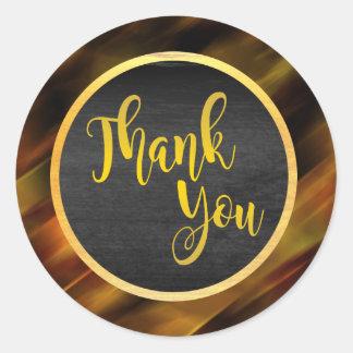 Thank You Gold Glitter Wedding Glow Classic Round Sticker