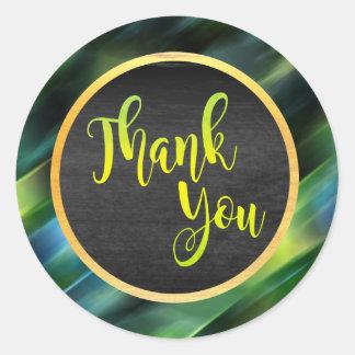 Thank You Gold Green Glitter Wedding Glow Classic Round Sticker
