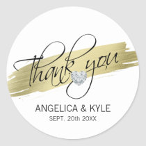 Thank you Gold Heart Diamond Wedding Bridal Classic Round Sticker