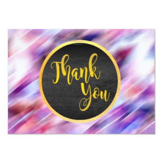 Thank You Gold Pink Glitter Wedding Glow Card