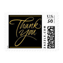 Thank You - Gold postage stamp small