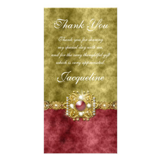 """""""thank you"""" gold red wedding party photo card"""