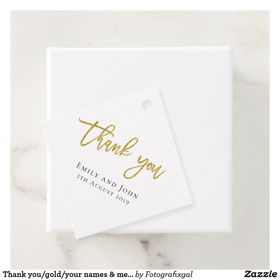 Thank you/gold/your names & message wedding favor tags
