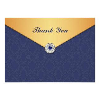 Thank You Golden Damask Flat Card
