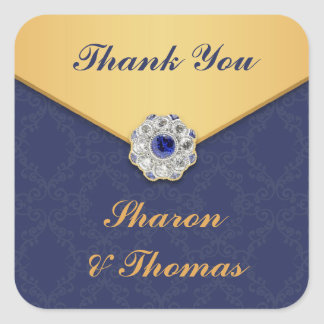 Thank You Golden Damask Sticker