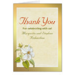 thank you golden design and white flowers cards