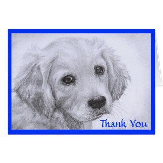 Thank  You Golden Retriever Puppy Drawing  Card