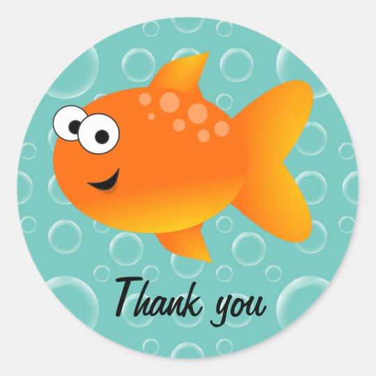 Thank You Goldfish Classic Round Sticker Zazzle Com