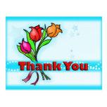 THANK YOU gorgeous fun cartoon flowers Postcard