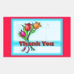 THANK YOU gorgeous fun flowers cartoon stickers