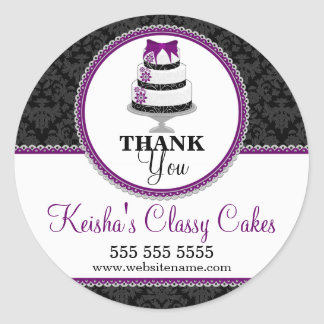 Thank You Gourmet Cake Bakery Box Seals Classic Round Sticker