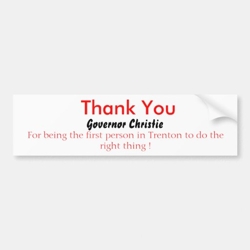 Thank You, Governor Christie Bumper Stickers