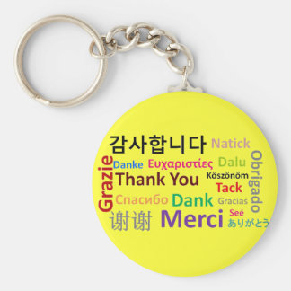 Thank You, Gracias, Merci, Dank Keychain