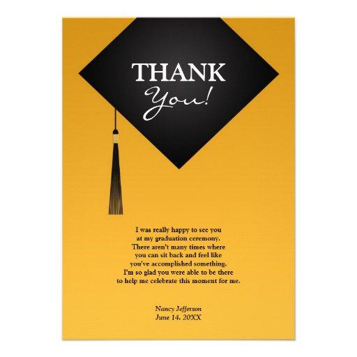 "Thank You Graduation Black Hat Flat Card 4.5"" X 6.25 ..."