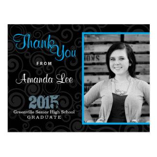 Thank You Graduation Party Retro Swirls Blue Postcard