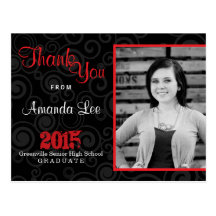 Thank You Graduation Party Retro Swirls Red Postcard