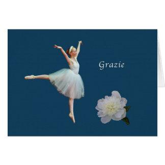 Thank You, Grazie, Italian, Ballerina Card