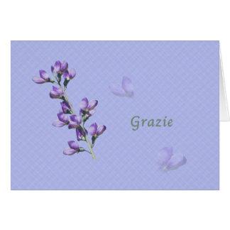 Thank You, Grazie, Italian, Purple Sweet Peas Greeting Card