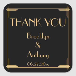 Thank You Great Gatsby Art Deco Wedding Stickers