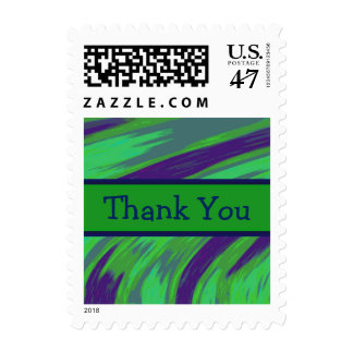 Thank You Green Blue Color Swish Postage