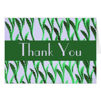 Thank You green branches pattern Card