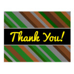 "[ Thumbnail: ""Thank You!"" + Green, Brown and Grey Stripes Postcard ]"