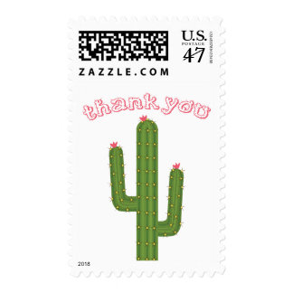 Thank You Green Cactus Pink Flowers Stamps