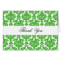 Thank you,green damask greeting cards