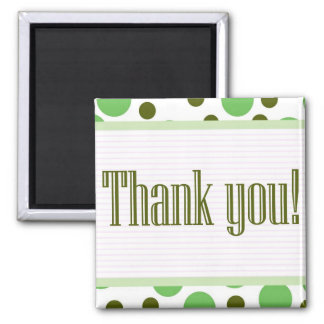 Thank You Green Dots 2 Inch Square Magnet