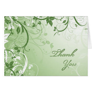 Thank You Green Floral Card