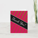"""[ Thumbnail: """"Thank You!"""" + Green Lines On Crimson Pattern Card ]"""