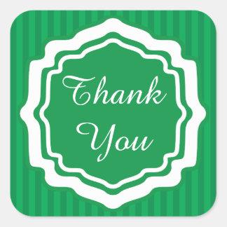 Thank You Green Stripes Square Sticker