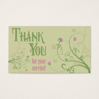 Thank You - Green Swirls Business Card