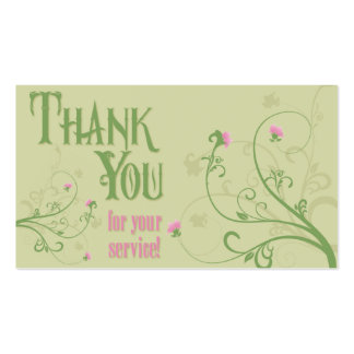 Thank You - Green Swirls Double-Sided Standard Business Cards (Pack Of 100)