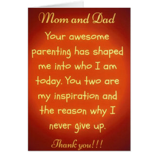 Thank You Greeting Card for Mom & Dad