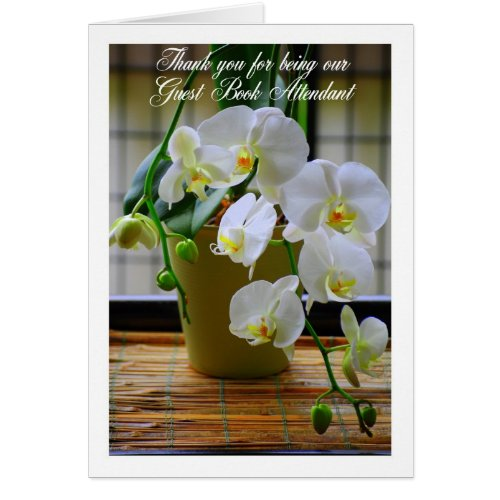 Thank You Guest Book Attendant White Orchids Card