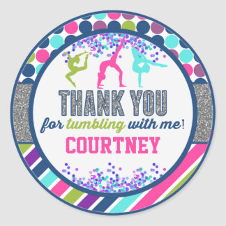 Thank You Gymnastics Tumbling Birthday Party Classic Round Sticker