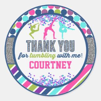 Thank You Gymnastics Tumbling Birthday Party Classic Round Sticker