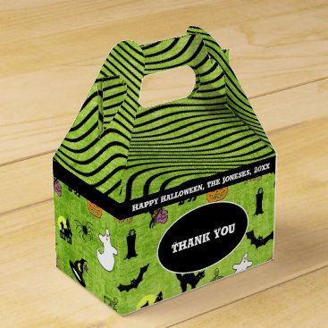 Halloween Themed Thank You: Halloween Collage Pattern Green Texture Favor Box